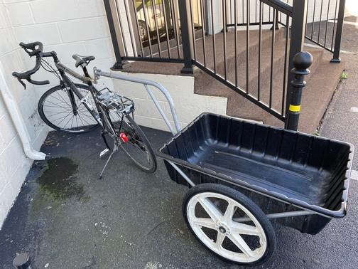 Mennonite bike with trailer