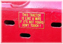 Sign on tractor at Etown Fair