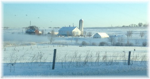 Lancaster farm scene with snow fog 3/6/15 (Click to enlarge)
