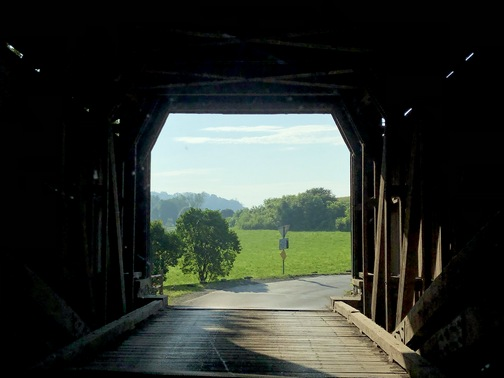 View from inside Hunsecker's Mill covered bridge 7/21/19 (photo by Ester Weber, click to enlarge)