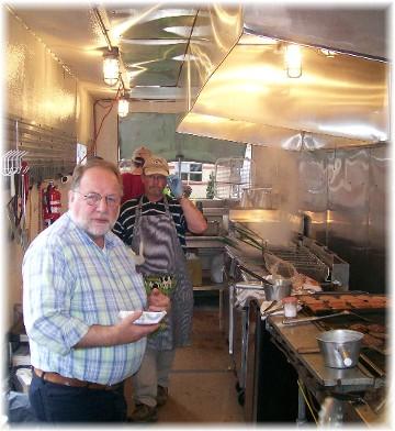 Gene Wenger in mobile kitchen