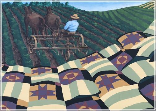 Quilt mural on building at Kitchen Kettle Village
