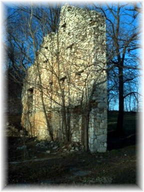 Ruins from stone barn wall in Lancaster County PA