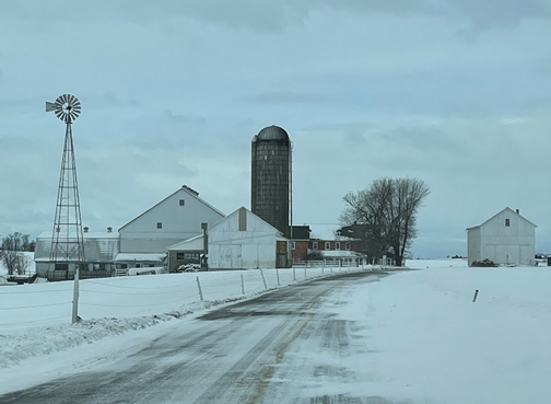 Lancaster County, PA farm in snow