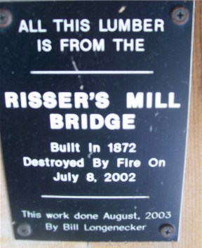 Plaque in Covered Bridge on Longenecker farm in Lancaster County PA