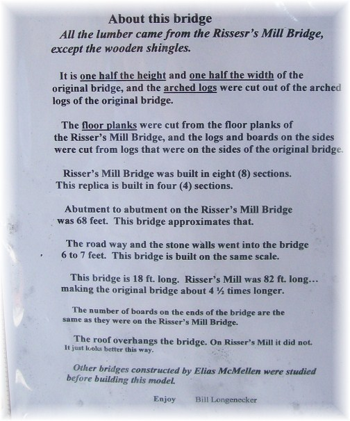 Description in Covered Bridge on Longenecker farm in Lancaster County PA