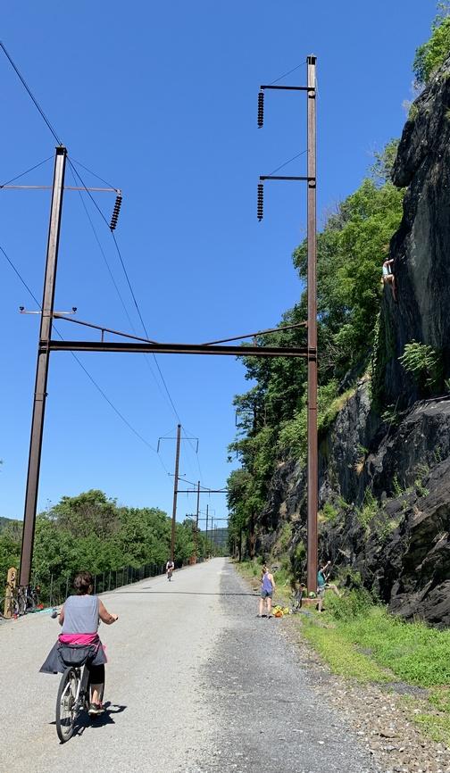 Rock climbing along the Enola Low Grade rail trail, Lancaster County, PA
