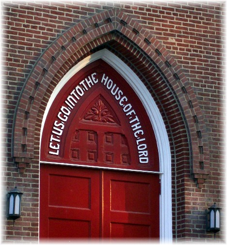 Door of church in Manheim, PA