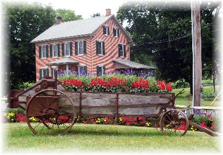 Flower cart at Cherry Hill Farm