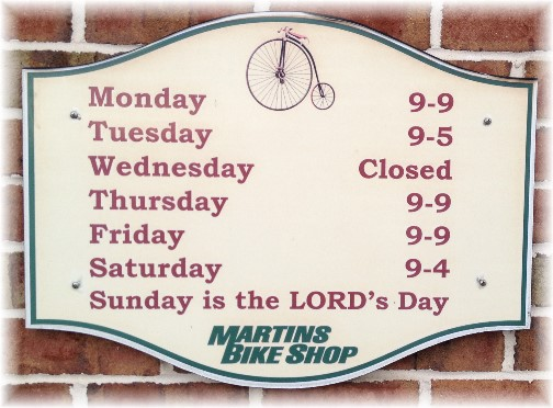 Martins Bike Shop sign