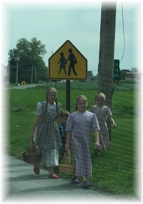 Mennonite children walking 6/8/17