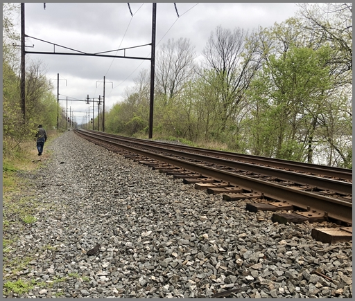 Walking along active rail line near the Northwest River Trail