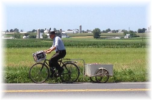 Old-order Mennonite on bike 7/16/15