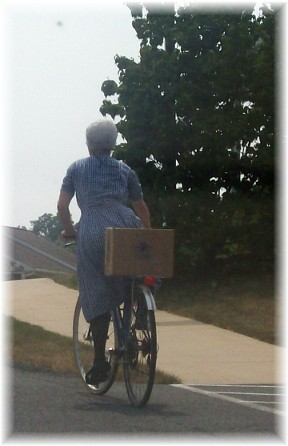 Old order Mennonite on bicycle in Lancaster County PA 7/21/11