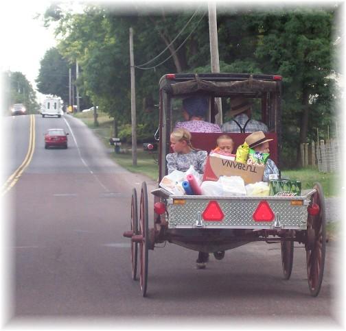 Old-order mennonite pickup with children 7/13/11