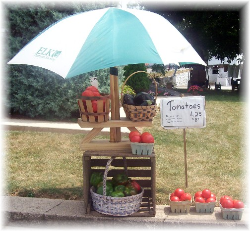 Small produce stand in Lancaster County PA