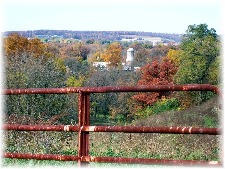 Rusty Gate and autumn view along Risser Mill Road