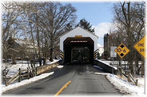 Shenk's Mill covered bridge in snow 2/18/18 (Click to enlarge)
