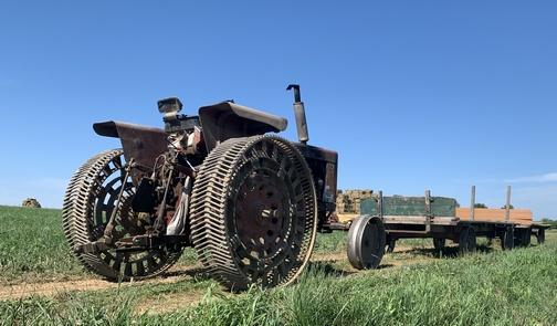Steel-wheeled tractor on Old Windmill Farm