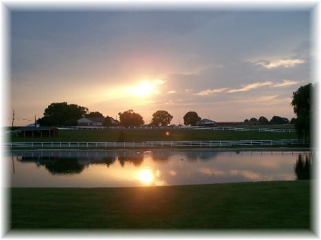 Sunset over farm pond 6/27/10