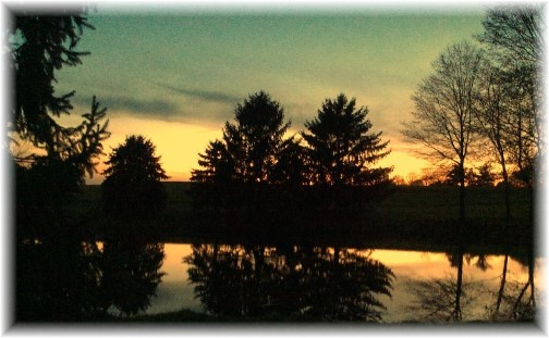 Sunset over Galen and Nancy Martin's pond 4/24/14