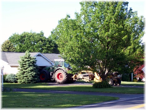Tractor in driveway