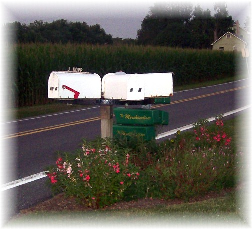 Wagon wheel revolving mailbox post in Lancaster County PA 7/21/11