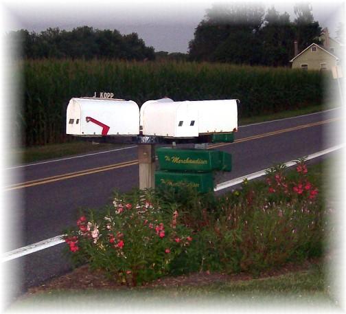 Wagon wheel revolving mailbox post in Lancaster County PA 7/21/11
