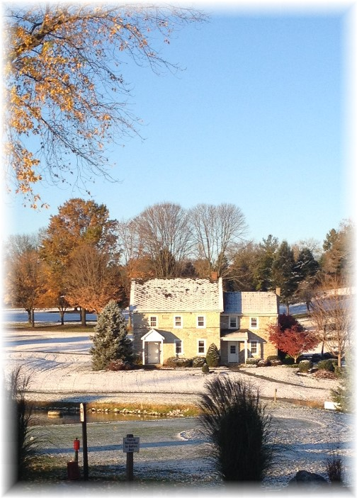 Willow Valley stone farmhouse first snow 11/14/14