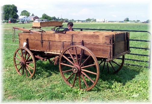 Wood wagon at the Lancaster County Carriage & Antique Auction in Bird In Hand PA.