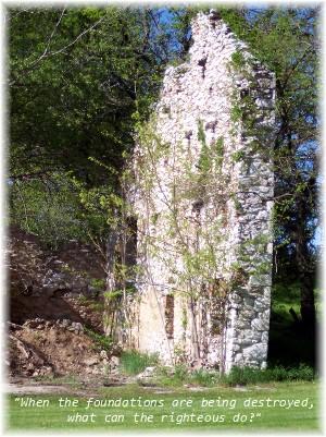 Stone barn wall