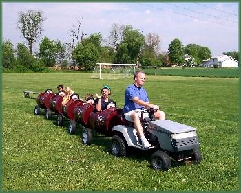 Lawn tractor train ride