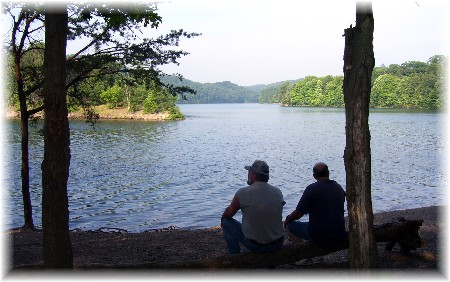 Friends relaxing at Raystown Lake