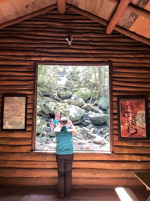Home school family at Bordner Cabin, Swatara State Park