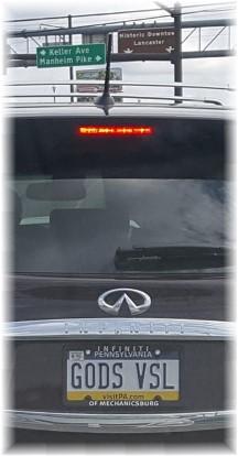 God's vessel license plate