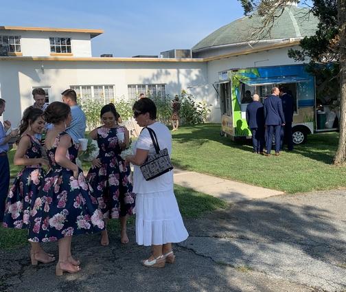 Brooksyne visiting with bridesmaids 8/17/19