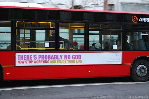 Bus with atheist sign