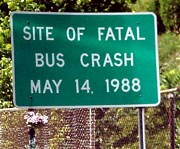Bus crash sign
