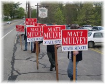 Campaign signholders in Massachusetts