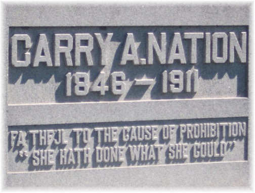Carrie Nation tombstone