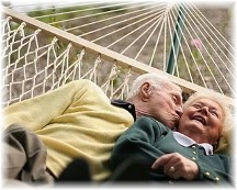 Cuddling older couple