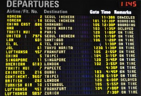 Departure screen at airport