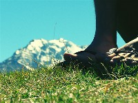 Feet and mountain