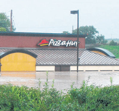 Flooded Pizza Hut in Hershey, PA 9/7/11