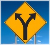 """""""Fork in the road"""" sign"""