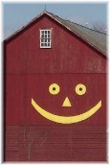 Smiley face on barn