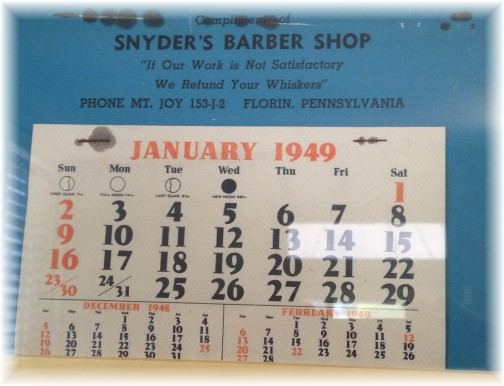 1949 calendar Jay Snyder barber shop, 96 year old barber