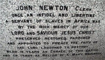 John Newton tombstone inscription (1725-1807)