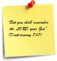 """Post-it note """"Remember the Lord your God"""""""