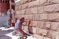 Repointing a stone wall
